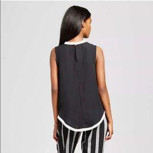 Black and cream chiffon sleeveless top